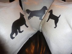 DOG y DOG y DOG sillouette pillow case by SIMPLICITY4U on Etsy, $18.00