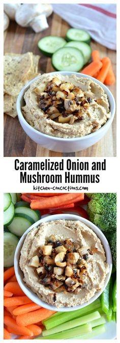 Caramelized Onion and Mushroom Hummus - Looking for a healthy and delicious tailgating appetizer? Try this Caramelized Onion and Mushroom Hummus, paired with fresh veggies and multi-grain chips at your next football party! {AD} #SamsClubMag #CollectiveBias @samsclub @hlmsmag