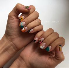 🌿 Indian summer for Olya 🐯 I decided to mention the materials I use as it might be useful for some of you guys. Funky Nails, Cute Nails, Pretty Nails, Abstract Nail Art, Tribal Nails, Modern Nails, Short Nails Art, Neutral Nails, Minimalist Nails