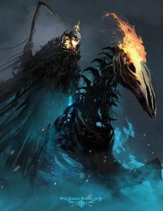 Ghost Rider by Ramses Melendez on ArtStation. Dark Fantasy Art, Fantasy Images, Dark Art, Dark Creatures, Mythical Creatures, Ghost Rider, Ramses, Cool Monsters, Dnd Monsters