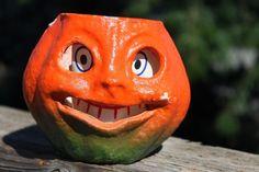 Vintage  HALLOWEEN Paper Mache Pumpkin JACK O' LANTERN  w/paper insert