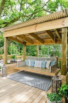 The wooden pergola is a good solution to add beauty to your garden. If you are not ready to spend thousands of dollars for building a cozy pergola then you may devise new strategies of trying out something different so that you can re Diy Pergola, Backyard Gazebo, Backyard Patio Designs, Small Backyard Landscaping, Pergola Designs, Diy Patio, Patio Ideas, Pergola Ideas, Landscaping Ideas
