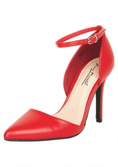 Red D'Orsay Ankle Strap Pointy Sydney Heels @ Alloy Apparel $30