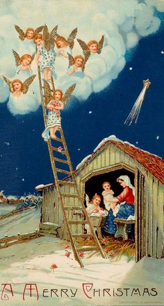 Vintage Christmas postcard with a  manger scene and angels.