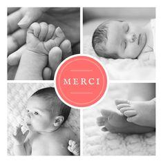 À la fois classique et légèrement rétro, la carte de remerciement de naissance Médaillon présente quatre photos de votre ...