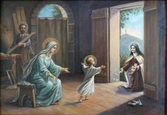 Mary and Jesus with St Therese