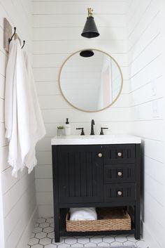 martha stewart vanity, shiplap, modern farmhouse bathroom,