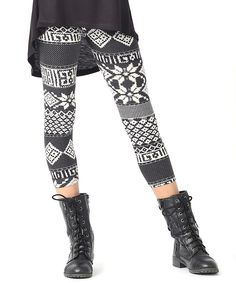 Another great find on #zulily! Rated G Black & White Fair Isle Mix Leggings - Girls by Rated G #zulilyfinds