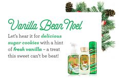 Vanilla Bean Noel. Let's hear it for delicious sugar cookies with a hint of fresh vanilla – a treat  this sweet can't be beat!