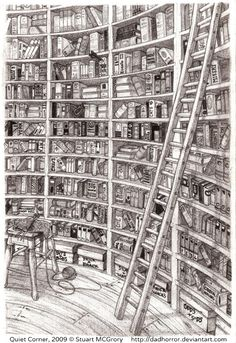 Quiet Corner, 2009 © Stuart MCGRORY    (Artist, UK) aka dadhorror via deviantart.  ... Great pencil work & amazing detail! Bet you could read every book title in this wonderful curvy library! -pfb :-) ... The law requires  you to credit the artist. List/Link directly to artist's website.  HOW TO FIND the ORIGINAL WEB SITE of an image: http://pinterest.com/pin/86975836525507659/  PINTEREST on COPYRIGHT:  http://pinterest.com/pin/86975836526856889/