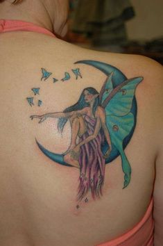 Luna fairy tattoo This is my birthday tatoo the tat was inked at Impaled in Marquette, Mi It was done by the one and only Michelle. Rate of pictures of tattoo Fairy Tattoo Designs, Heart Tattoo Designs, Tattoo Designs For Women, 3d Butterfly Tattoo, Dragonfly Tattoo, Moth Tattoo, Vine Tattoos, Body Art Tattoos, Lower Leg Tattoos