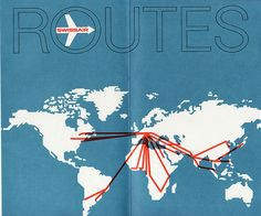 Scan of a circa seat pocket brochure from Swissair Airlines. Love the clean design of this route map.