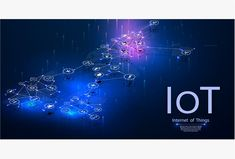 Internet of things (IOT), devices and connectivity concepts on a network. Spider web of network connections with on a futuristic blue background. Iot Icon, Finger Scan, Time Running Out, First Contact, Vector File, Blue Backgrounds, Futuristic, Design Elements, Spider