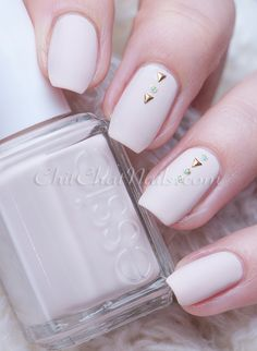 Effortlessly Elegant ~ Essie Cashmere Collection 'Wrap Me Up' (whisper-soft neutral matte pink) with Born Pretty gold triangle studs and gold/turquoise polish dots to decorate | ChitChatNails