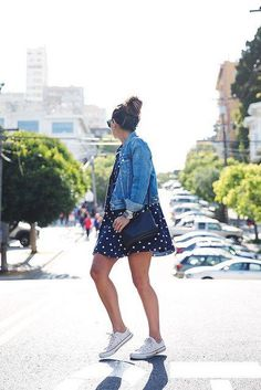 patterned dress / denim jacket / white Converse