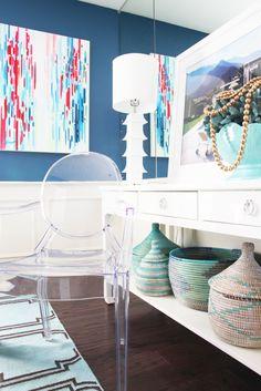 Pencil Shavings Studio dining room reveal with Benjamin Moore - Benjamin Moore Lucerne - blue dining room - white wainscoting - aqua accents - www.pencilshavingsstudio.com