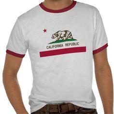 Vintage California Republic State Flag Red Ringer Shirts $22.95