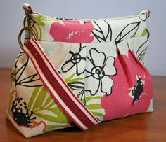 Pink Paradise Purse - Zip Pleated Slouch / Hobo - Natural Hopsack Linen / Cotton ... by Sew Much Cuteness