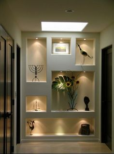 Recessed lights in art niches various sizes and straight lines                                                                                                                                                                                 More