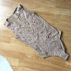 ❣48 hr sale❣Nude floral body suit Snap Bottom. True to size. Mesh slightly sheer except floral overlay. Recently dry cleaned. ❌NO TRADES NO PP❌ Intimates & Sleepwear