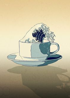 Storm in a Teacup - Hokusai style! by Ross Robinson