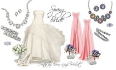 """Bride: """"Most Wanted"""" necklace, earrings, bracelet (x2) and """"My Love"""" ring.  Bridesmaid: """"Chiffon"""" necklace and earrings, """"Orchid"""" ring. """"Can't Get Enough"""" bangles."""
