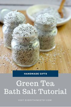 This Green Tea Bath Salt smells amazing!  It's a simple DIY project that's great for Mother's Day, a friend's birthday or a sweet wedding favors. There are so many benefits of each ingredient! I started with some recycled little jelly jars.  They're just big enough and oh so cute! I used this beautiful metallic paint…   [read more] Handmade Gifts For Her, Handmade Crafts, Diy Gifts, Diy Green Tea Bath Salts, Fall Crafts, Decor Crafts, Simple Diy, Easy Diy, Sweet Wedding Favors
