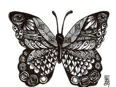 Zentangle Color Butterfly Zentangle butterflies
