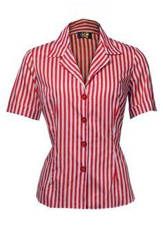 1950s Rizzo Shirt - Red stripe