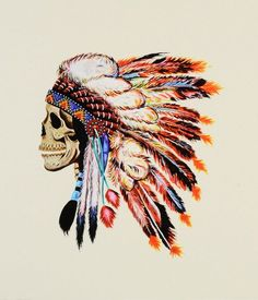 Native American Headdress on Skull Tattoo Design