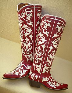 Red and White Talk Western Boot - Rocketbuster Handmade Custom Boots Red Cowgirl Boots, Custom Cowboy Boots, Custom Boots, Cowboy Boots Women, Red Boots, Western Boots, Western Wear, Vintage Cowgirl, Cowgirl Chic