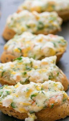 Cheesy Shrimp Canapes - http://natashaskitchen.com/2013/10/07/cheesy-shrimp-tea-sandwiches-canapes/#_a5y_p=1446581