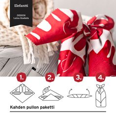 Reusable Furoshiki carry wrap for two bottles with Finlayson's Elefantti fabric. I'd wrap red and white Christmas glögg bottles in this gift package and suprise my friends.
