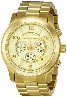 New Michael Kors Runway Oversized Gold Tone Chronograph Unisex Watch Michael Kors Shop, Cheap Michael Kors, Michael Kors Gold, Handbags Michael Kors, Michael Kors Watch, Cheap Purses, Cheap Handbags, Cheap Bags, Cool Watches