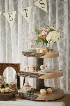 Rustic cupcake display with a woodsy, vintage theme #wedding #weddingcupcakes #rustic #cupcakes #vintage