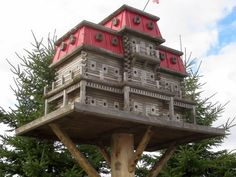 Canadian builder John Looser builds massive bird mansions, some of which can accommodate hundreds of birds and feature fly-through tunnels and pools. The largest of his creations are over nine feet wide and eight feet tall, with one that has 103 rooms and weighs over 500 pounds. Looser sells his houses and birdhouse plans at ExtremeBirdhouse.com.