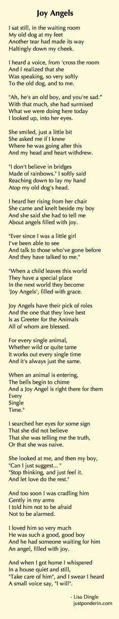 Joy Angels by Lisa Dingle (the mother of one of my best friends!) Extremely touching read for anyone who has ever lost a loved animal. I cannot read this without tears coming to my eyes for the animals we have lost over the years. I Love Dogs, Puppy Love, Pet Poems, Pet Loss Grief, Pet Remembrance, Old Dogs, Pet Memorials, Dog Quotes, Animal Quotes