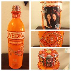 22nd birthday bottle I made for my friend!  #svedka #birthdaybottle bedazzled bottles!