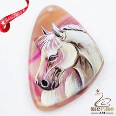 Hand Painted Horse Agate Slice Gemstone Bead Necklace Pendant D1708 0016 #ZL #Pendant