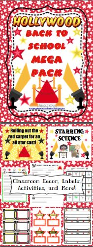 Hollywood Theme Back to School Mega Pack - Roll out the red carpet and get ready for an all star year! This pack will help you with all aspects of starting your school year with printable room decor, open house activities, first week activities, and much more! This pack now includes a download link to EDITABLE labels, letters, activities, and more! $