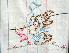Love these old dishtowels. My grandmother had one for every day of the week. So cute!