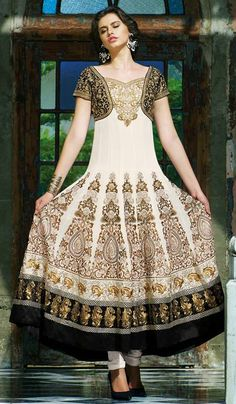 G3 Fashions Off white georgette party wear designer salwar suit  Product Code: G3-LSA107638 Price: INR RS 7542
