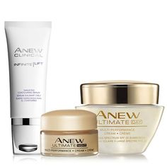 Luxurious spa treatments for less! An $85 value, the collection includes: Anew Ultimate Multi-Performance Night Cream Try-It Size, Anew Clinical Infinite Lift Targeted Contouring Serum, Anew Ultimate Multi-Performance Day Cream Broad Spectrum SPF 25. Regularly $46.00, shop Avon Skincare online at http://eseagren.avonrepresentative.com