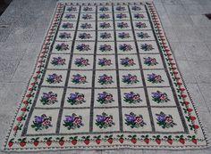 5 X 7.4 Ft.Turkish Handmade Needlepoint Area Rug Wool Floral Kilim Jajim Rug, #Turkish