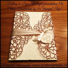 Menu or invation cover So detailed thinlits, very vanilla satin ribbon, falling in love embellishments. Stampin' Up!