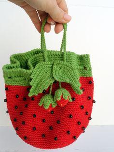Toddler girl handbag Strawberry costume handbag Toddler bagpack Children costume accessory Toddler purse Children crochet bag Strawberry toy (26.99 USD) by CrochetTenderness