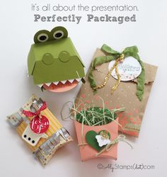 Smitten with all of the new packaging dies, bags and boxes. Great fun you can have with them!