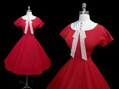Vintage 1950's 50's Red party dress by CalendarGirlVintage, $115.00, women's vintage fashion