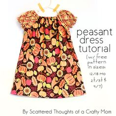 How to make a Peasant Dress w/ free printable pattern from Scattered Thoughts of a Crafty Mom