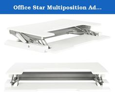 """Office Star Multiposition Adjustable Desk Riser with Dual Lift, White. A new option in standing desk technology, this sit to stand desk converter makes it easy to create a stand up desk out of any traditional table top work surface. Dual handles and pneumatic lift let you easily move between 8 positions over a 10"""" Height adjustment range to find your comfort zone, while a built in keyboard tray and tablet holder make it easier to access all the tools you need to get the job done. Upgrade..."""